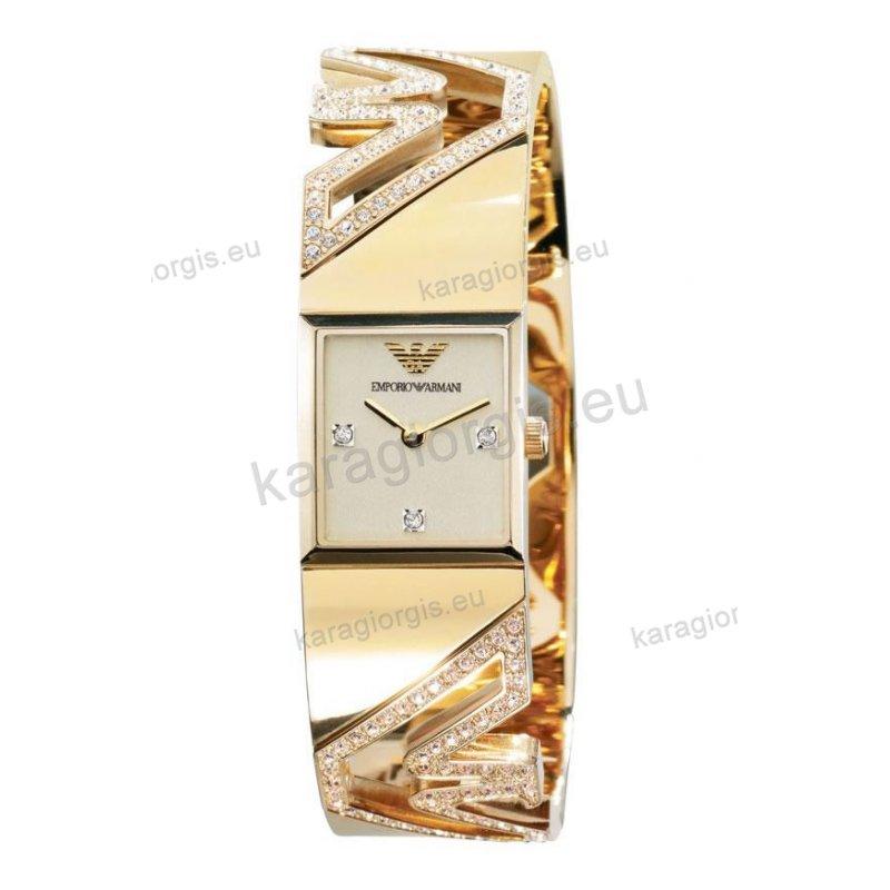 Ρολόι Emporio Armani γυναικείο τετράγωνο χρυσο μπεζ καντράν με πετρες  μπρασελέ χειροπέδα με πέτρες 20mm 46857947a14