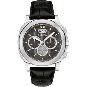 Ρολόι BULOVA DRESS COLLECTION ανδρικό με μαύρο δερμάτινο λουράκι και χρονογράφος ακριβείας 43mm