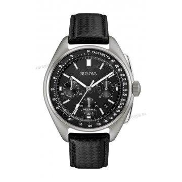 Ρολόι BULOVA Moonwatch Collection ανδρικό με μαύρο δερμάτινο λουράκι και χρονογράφο ακριβείας 43mm