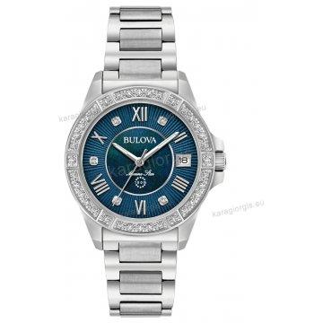 Ρολόι BULOVA Ladies Diamond Collection γυναικείο με 29 διαμάντια στο καντράν και στη στεφάνη 32mm
