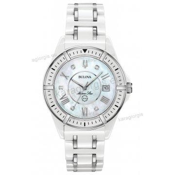 Ρολόι BULOVA Ladies Curved Diamond Collection γυναικείο με κεραμικό  μπρασελέ 5 διαμάντια και φίλντισι καντράν 37mm cf47f5667c5