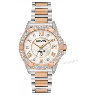 Ρολόι BULOVA Ladies Diamond Collection γυναικείο με δίχρωμο rose gold  μπρασελέ και 23 διαμάντια στο καντράν be0b6725cbd