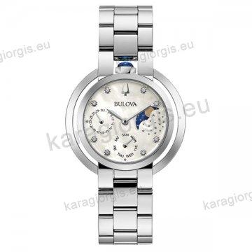 Ρολόι BULOVA Rubayat Star Collection γυναικείο quartz με ατσάλινο μπρασελέ με 8 διαμάντια στο καντράν 35mm.