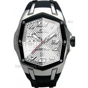 Ρολόι CHRONOTECH αυτόματο-μηχανικό τετράγωνο με μαύρο λούρι σιλικόνης 50mm
