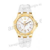 Ρολόι CUT CATERPILLAR NAVIGO lady γυναικείο rose gold με άσπρο λουράκι σιλικόνης 35mm