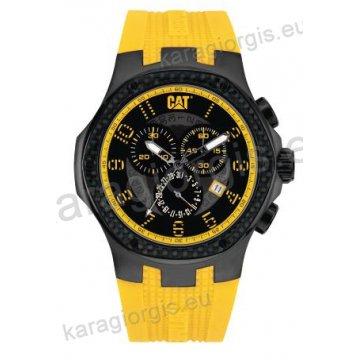 Ρολόι CUT CATERPILLAR NAVIGO carbon chrono ανδρικό με κίτρινο λουράκι σιλικόνης 44mm