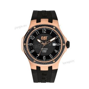 Ρολόι CUT CATERPILLAR NAVIGO carbon date ανδρικό rose gold με μαύρο λουράκι σιλικόνης 44mm