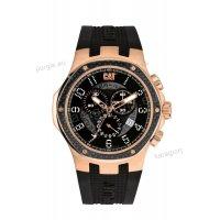 Ρολόι CUT CATERPILLAR NAVIGO chrono rose gold ανδρικό με μαύρο λουράκι σιλικόνης 44mm