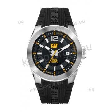 Ρολόι CUT CATERPILLAR T7 date ανδρικό με μαύρο λουράκι σιλικόνης 44mm