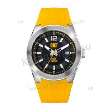 Ρολόι CUT CATERPILLAR T7 date ανδρικό με κίτρινο λουράκι σιλικόνης 44mm