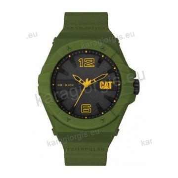 Ρολόι CUT CATERPILLAR Spirit ανδρικό με πράσινο-λαδί λουράκι σιλικόνης 46,5mm