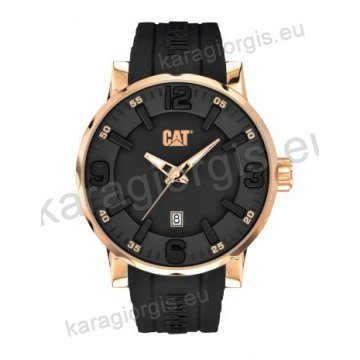 Ρολόι CUT CATERPILLAR Bold 46 date rose gold ανδρικό-γυναικείο με μαύρο λουράκι σιλικόνης 46mm