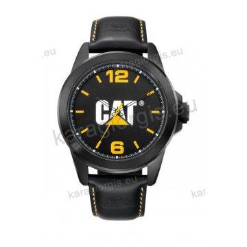 Ρολόι CUT CATERPILLAR Icon ανδρικό total black με μαύρο δερμάτινο λουράκι 45mm