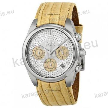 Ρολόι D&G γυναίκειο στρογγυλό ασημί καντράν με πέτρες με μπεζ λουράκι
