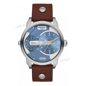 Ρολόι Diesel ανδρικό με χρονογράφο ακριβείας καφέ δερμάτινο λουράκι και ένδειξη διπλής ώρας 46mm