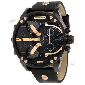 Ρολόι Diesel ανδρικό με rose gold χρονογράφο ακριβείας μαύρο δερμάτινο λουράκι και ένδειξη τετραπλής ώρας 57mm