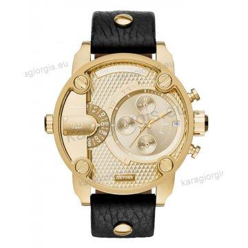 Ρολόι Diesel ανδρικό rose gold με χρονογράφο ακριβείας και μαύρο δερμάτινο λουράκι 51mm