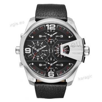 Ρολόι Diesel ανδρικό με χρονογράφο ακριβείας μαύρο δερμάτινο λουράκι και ένδειξη τετραπλής ώρας 55mm