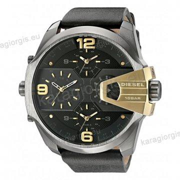 Ρολόι Diesel ανδρικό total black με χρονογράφο ακριβείας μαύρο δερμάτινο λουράκι και ένδειξη τετραπλής ώρας 55mm
