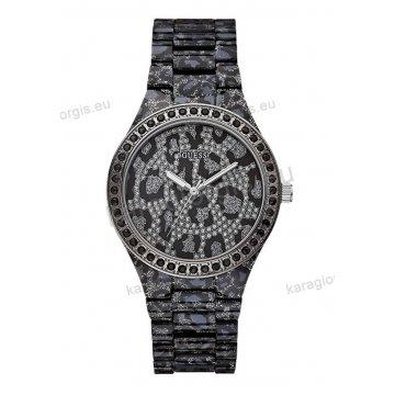 Ρολόι GUESS γυναίκειο στρογγυλό μαύρο καντράν με πέτρες και μπρασελέ σε μαύρο τιγρέ χρώμα 40mm