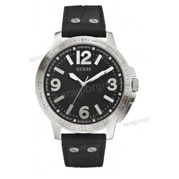 Ρολόι GUESS γυναίκειο-ανδρικό στρογγυλό μαύρο καντράν με μαύρο δερμάτινο λουράκι 44mm