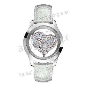 Ρολόι GUESS γυναίκειο στρογγυλό ασημί καντράν με πέτρες και άσπρο δερμάτινο λουράκι 42mm