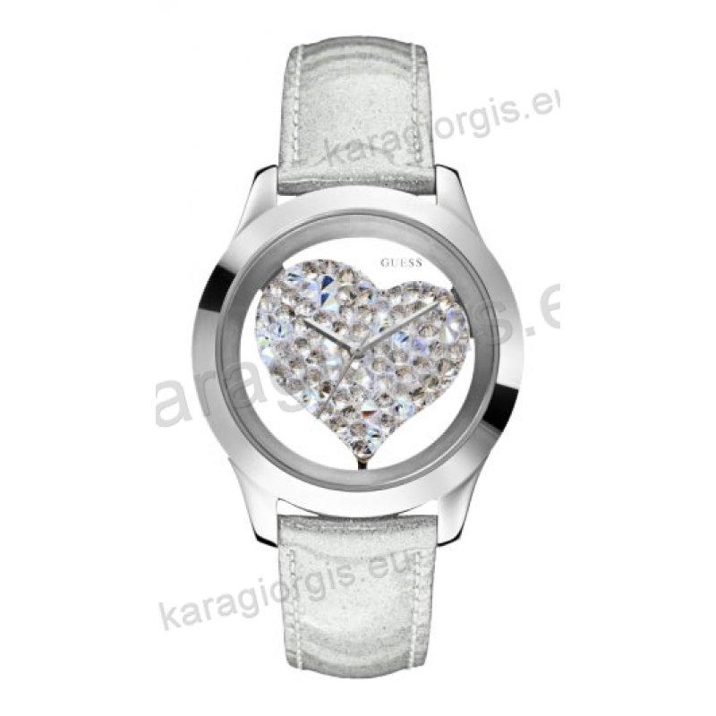Ρολόι GUESS γυναίκειο στρογγυλό ασημί καντράν με πέτρες και άσπρο δερμάτινο  λουράκι 42mm 0b0bd7bea66