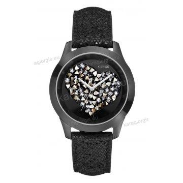 Ρολόι GUESS γυναίκειο στρογγυλό μαύρο καντράν με πέτρες και μαύρο δερμάτινο λουράκι 42mm