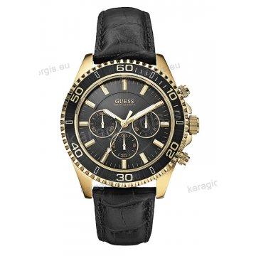 Ρολόι GUESS γυναίκειο-ανδρικό επίχρυσο gold στρογγυλό χρονογράφος μαύρο καντράν με μαύρο δερμάτινο λουράκι 45mm
