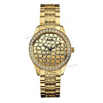 Ρολόι GUESS γυναίκειο επίχρυσο στρογγυλό χρυσαφί καντράν πέτρες στη στεφάνη και σκαλιστό μπρασελέ 37mm