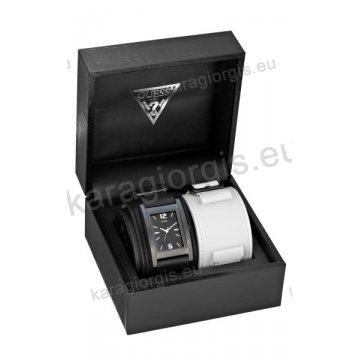 Ρολόι GUESS γυναίκειο-ανδρικό τετράγωνο μαύρο καντράν με μαύρο ή άσπρο περικάρπιο δερμάτινο λουράκι 32*42mm