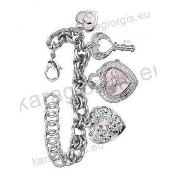 Ρολόι GUESS γυναίκειο σε σχήμα καρδιάς ροζ καντράν κρεμαστό σε βραχιόλι τύπου charms