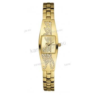 Ρολόι GUESS γυναίκειο επίχρυσο τετράγωνο χρυσαφί καντράν με πέτρες και επίχρυσο μπρασελέ σε χειροπέδα 18mm