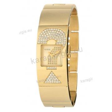 Ρολόι GUESS γυναίκειο επίχρυσο τετράγωνο χρυσαφί καντράν με πέτρες και επίχρυσο μπρασελέ σε χειροπέδα 25mm