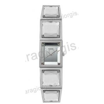 Ρολόι GUESS γυναίκειο τετράγωνο ασημί καντράν και πέτρες στο μπρασελέ 18mm