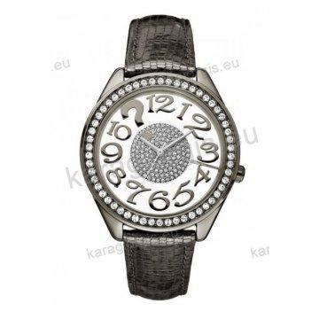 Ρολόι GUESS γυναίκειο στρογγυλό μαύρο διαφανές καντράν με πέτρες και μαύρο δερμάτινο λουράκι 35mm