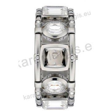 Ρολόι GUESS γυναίκειο τετάγωνο ασημί καντράν και πέτρες στο μπρασελέ 21mm