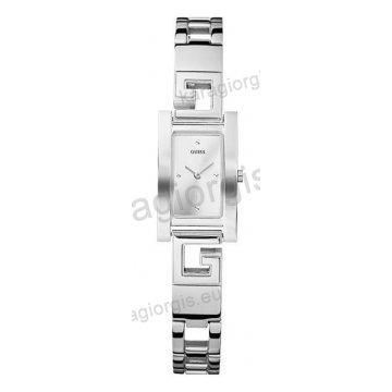 Ρολόι GUESS γυναίκειο τετράγωνο ασημί καντράν με μπρασελέ 19mm
