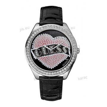 Ρολόι GUESS γυναίκειο στρογγυλό μαύρο καντράν με μαύρο δερμάτινο λουράκι 44mm