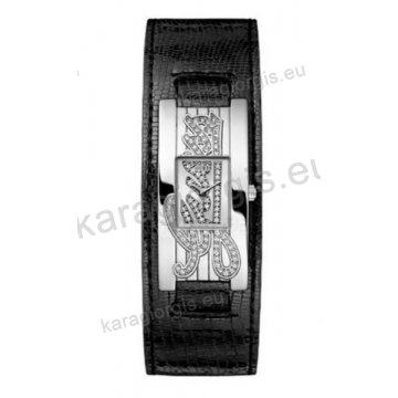 Ρολόι GUESS γυναίκειο τετράγωνο μαύρο καντράν με πέτρες και μαύρο δερμάτινο λουράκι σε περικάρπιο 22mm