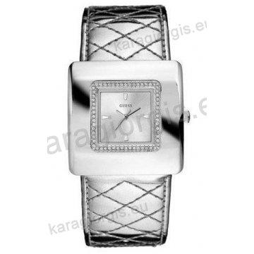 Ρολόι GUESS γυναίκειο τετράγωνο ασημί καντράν με πέτρες και ασημί δερμάτινο λουράκι 38mm