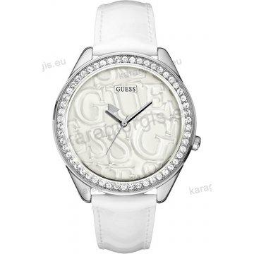 Ρολόι GUESS γυναίκειο στρογγυλό άσπρο καντράν πέτρες στη στεφάνη με άσπρο δερμάτινο λουράκι 45mm
