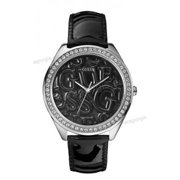 Ρολόι GUESS γυναίκειο στρογγυλό μαύρο καντράν πέτρες στη στεφάνη με μαύρο δερμάτινο λουράκι 45mm