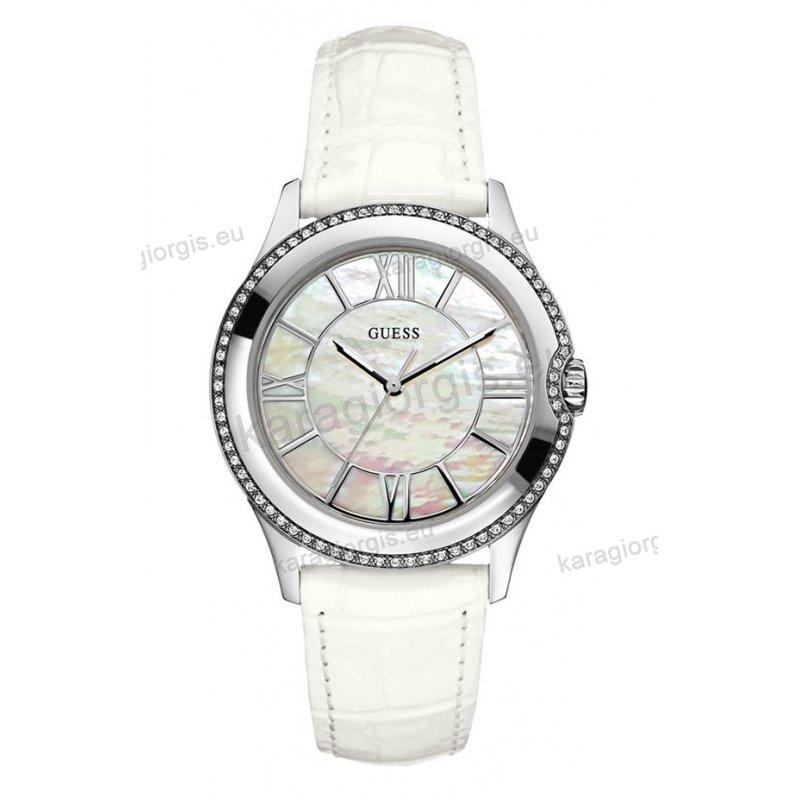 Ρολόι GUESS γυναίκειο στρογγυλό άσπρο φίλντισι καντράν πέτρες στη στεφάνη με  άσπρο δερμάτινο λουράκι 42mm 1778620c849