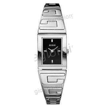 Ρολόι GUESS γυναίκειο τετράγωνο μαύρο καντράν με μπρασελέ 19mm