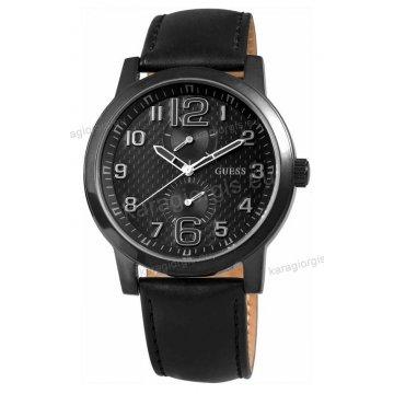 Ρολόι GUESS γυναίκειο-ανδρικό στρογγυλό total black μαύρο καντράν και μαύρο δερμάτινο λουράκι 45mm