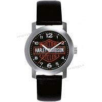 Ρολόι HARLEY DAVIDSON ανδρικό-γυναικείο με μαύρο δερμάτινο λουράκι 37mm