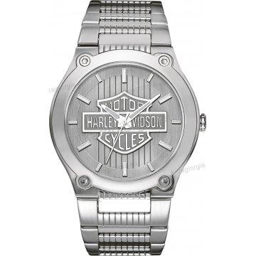 Ρολόι HARLEY DAVIDSON ανδρικό-γυναικείο με ανοξείδωτο μεταλλικό μπρασελέ  και λογότυπο HARLEY DAVIDSON 42mm 8832b6be4bc