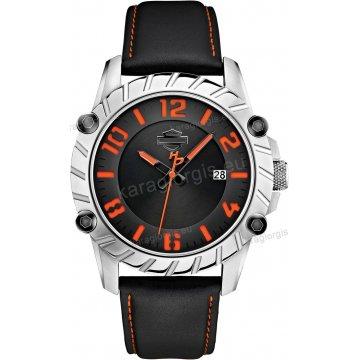 Ρολόι HARLEY DAVIDSON ανδρικό-γυναικείο με μαύρο δερμάτινο λουράκι 42mm