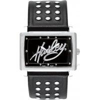 Ρολόι HARLEY DAVIDSON γυναικείο τετράγωνο με μαύρο δερμάτινο λουράκι 36mm
